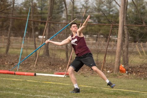 YEAH, I THROW. Senior Ryan Bailey gives it his all as he throws the javelin. Ryan threw a personal best at the league meet and placed third.