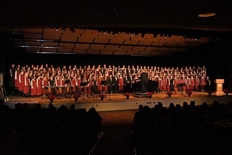 HAPPY HOLIDAYS! The Concert Choir and Symphonic Choir combine to perform a number of songs for their winter concert.