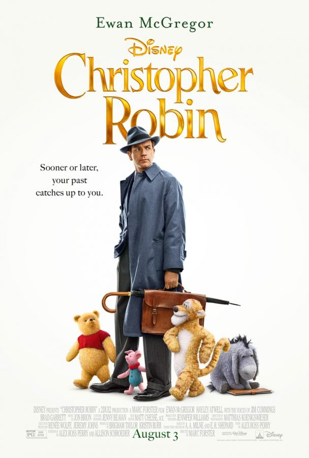 CHRISTOPHER ROBIN (AUGUST 9, 2018, PG)  By Tori Tarallo   Years laters, all grown up and lacking even the slightest shimmer of imagination, over-worked and pessimistic Christopher Robin (Ewan McGregor) receives a visit from his old friends from the Hundred Acre Wood. Winnie-the-Pooh (Jim Cummings) and friends return to Robin's life and try to restore his once vivid and optimistic imagination which proves to be a challenge now that he's beyond the comforts of childhood, now married with a wife Evelyn (Hayley Atwell) and daughter Madeline (Bronte Carmicheal) and dealing with a very realist boss (Mark Gatiss) at work.   Directed by Golden Globe nominee Marc Forster of The Kite Runner and World War Z, Christopher Robin lunges into the real-life journey of growing up and the costs it has on imagination. McGregor (Star Wars: Revenge of the Sith) is no stranger when it comes to movies with imagination which will add to the movie. With Cummings' (The Lion King) experience in a plethora of Disney movies, his youthful acting will no doubt help assist in highlighting the magical realism in this movie.