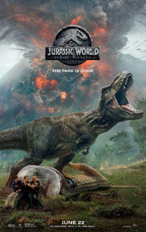 JURASSIC WORLD: FALLEN KINGDOM By Tori Tarallo  After the destruction of the Jurassic World Theme Park, Owen Grady (Chris Pratt) and Claire Dearing (Bryce Dallas Howard) return three years later to Isla Nublar to rescue the remaining dinosaurs from a volcano that is soon to erupt. To their surprise when they arrive at the island, they encounter many new breeds of gigantic dangerous dinosaurs and uncover a plot that could put the world at risk.  Directed by J. A. Bayona, Jurassic World: Fallen Kingdom is the new thrilling sequel to Jurassic World. The science fiction adventure launches into the thrilling ride the movies present. With returning stars Chris Pratt (Zero Dark Thirty) and Bryce Dallas Howard (Spider-Man 3) the duo will add their own touches to the film making it worth the watch.