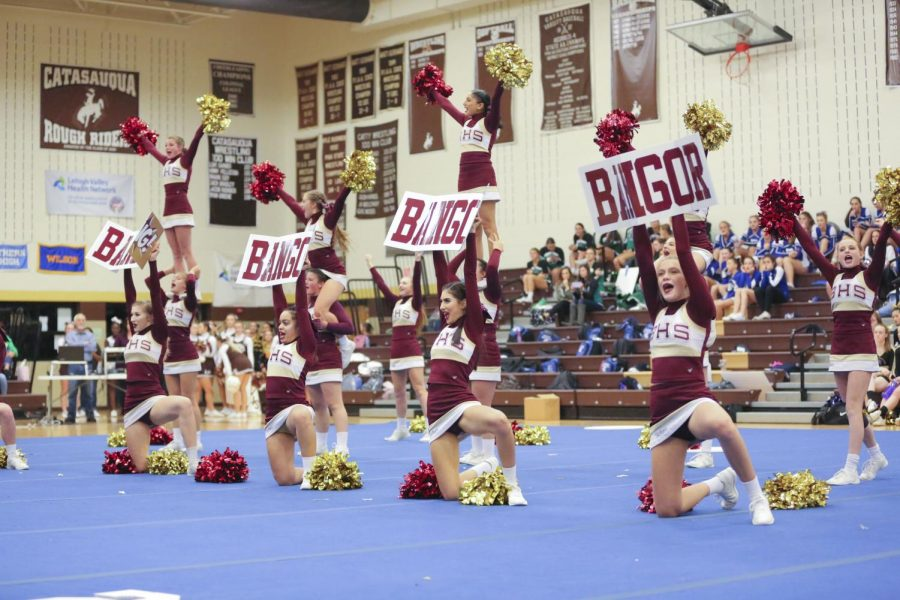 GET RILED!  BHS Cheerleaders take the floor during a competition at Catasauqua High School rallying up the crowd.